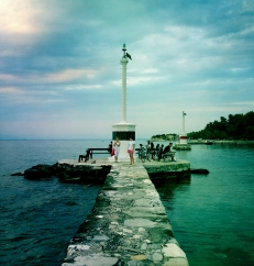 Walked on a pier in the evening in Thassos, Greece