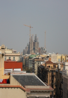 Sagrada Familia towering over the rooftops