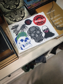 Spotted the Stickerbomb Skulls featuring art from yours truly at the museums' gift shop.